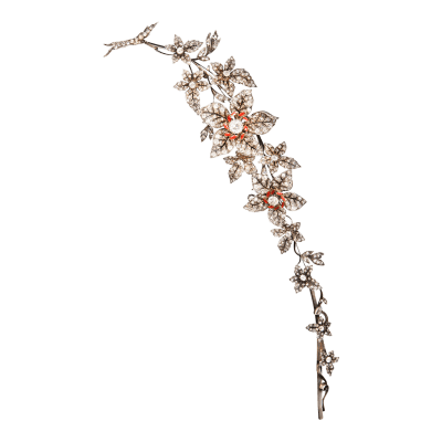 Antique Diamond en Tremblant Corsage Brooch