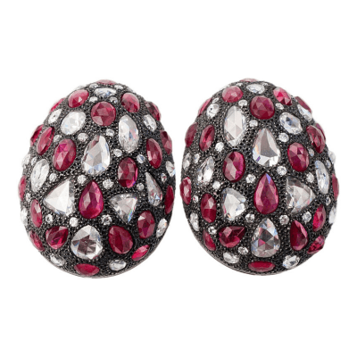 Antique Diamonds and Rubies Set in Modern Bombe Earclips