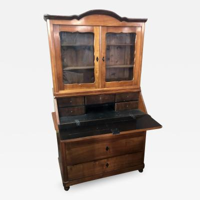 Antique Early 19c Biedermeier Austrian Country Secretary Bookcase Desk