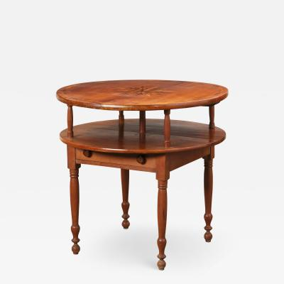 Antique Early 19th C American Sheraton Inlaid Cherry Table