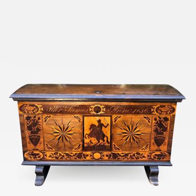 Antique Early 19th C Dutch Marquetry Inlaid Dome Top Marriage Coffer Chest