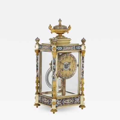 Antique Eclectic Style Gilt Bronze Brass and Champlev Enamel Mantel Clock