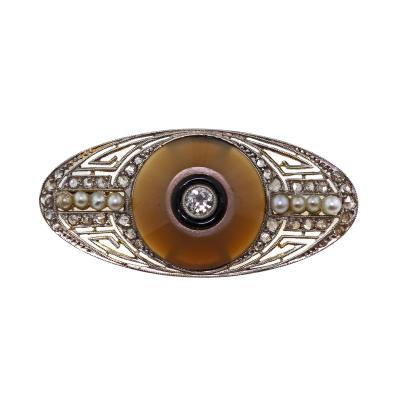 Antique Edwardian Deco 18K Yellow Gold Platinum Diamond Seed Pearl Brooch