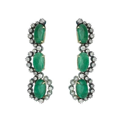 Antique Emerald Diamond Silver and Gold Ear Pendants