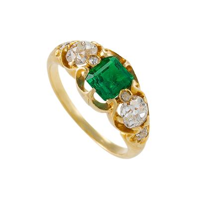 Antique Emerald and Diamond 3 Stone Ring