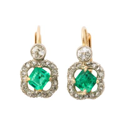 Antique Emerald and Diamond Gold Earrings