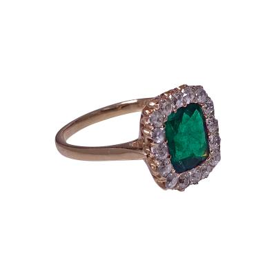 Antique Emerald and Diamond Ring 18K English C 1900
