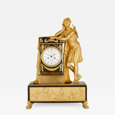Antique Empire Period Neoclassical Style Mantel Clock