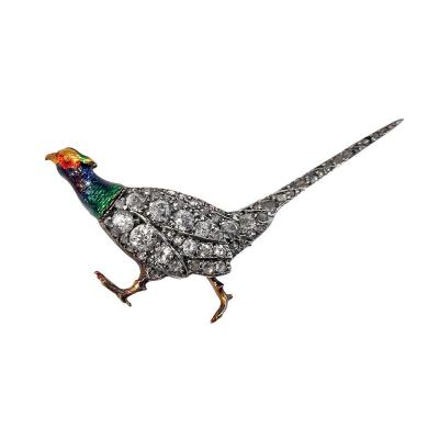Antique Enamel Diamond Pheasant Brooch English C 1880