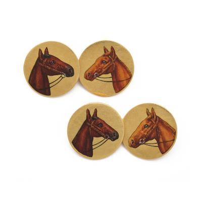 Antique Enamel Horses Double Cufflinks