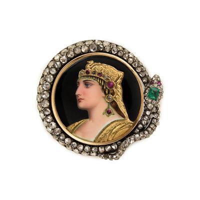 Antique Enamel and Gemset Brooch of Cleopatra Framed by a Diamond Snake