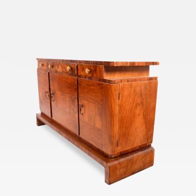 Antique English Art Deco Walnut Sideboard