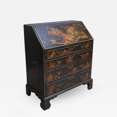 Antique English Black Chinoiserie Slant Desk with a Vibrant Red Interior