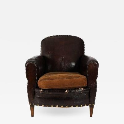 Antique English Club Chair in Whiskey Leather