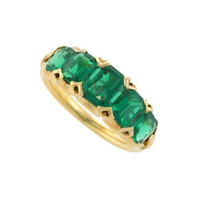 Antique English Five Stone Emerald Ring