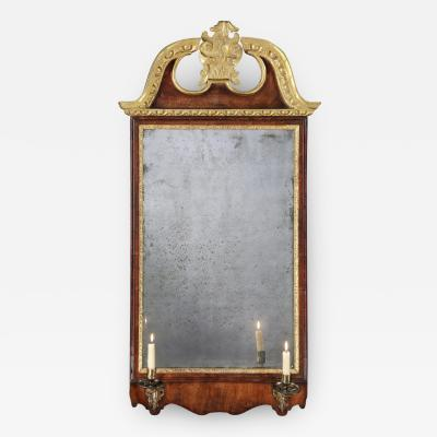 Antique English George II Period Walnut and Parcel Gilt Mirror Looking Glass