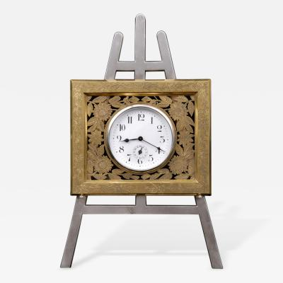 Antique English Gilded Silver Plated Easel Clock