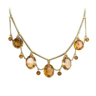 Antique English Gold and Citrine Festoon Necklace