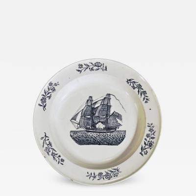 Antique English Pottery Creamware Plate of an American Ship