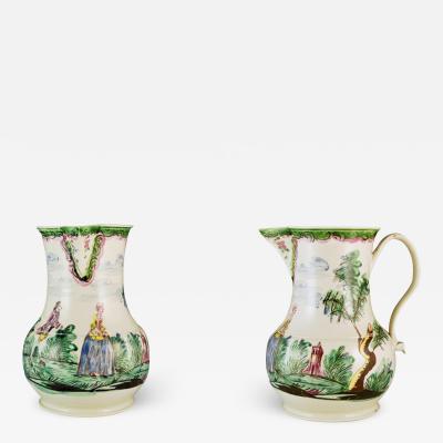 Antique English Saltglaze Pottery Cider Jug with Figural Polychrome Decoration