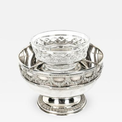 Antique English Silver Plated Cut Crystal Caviar Dish Bowl