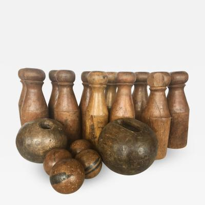 Antique English Skittles Lawn Bowling Game Set