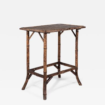 Antique English Tortoise Shell Bamboo Side Table