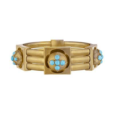 Antique English Turquoise and Gold Bracelet