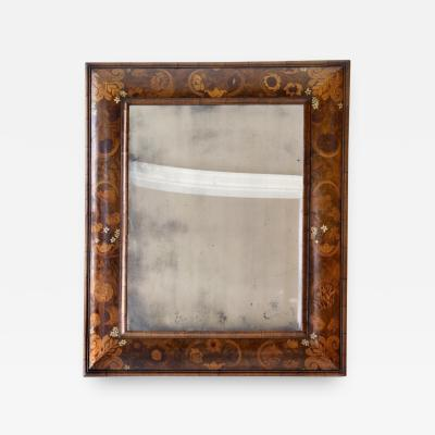 Antique English William and Mary Period Veneered Marquetry Mirror