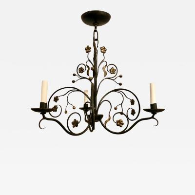 Antique English Wrought Iron Chandelier