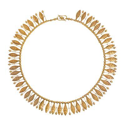 Antique Etruscan Revival Gold Fringe Necklace with Leaf Pendants