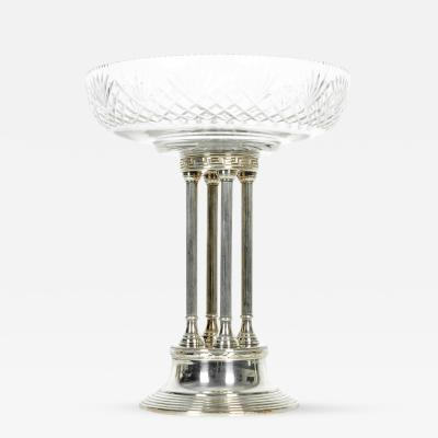 Antique European Silver Plated Pillars with Cut Crystal Compote