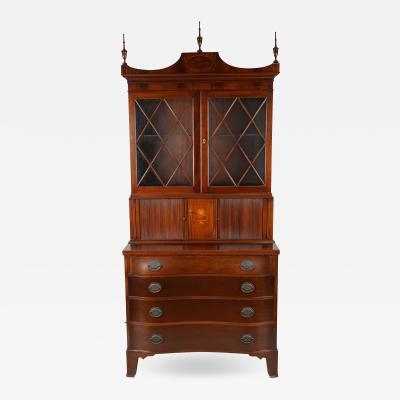 Antique Federal Style Mahogany Secretary Tambour Bookcase