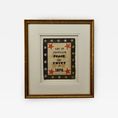 Antique Folk Art 1876 Patriotic Banner
