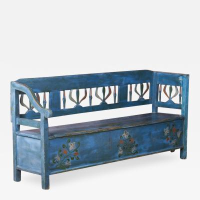 Antique Folk Art Blue Painted Hungarian Storage Bench