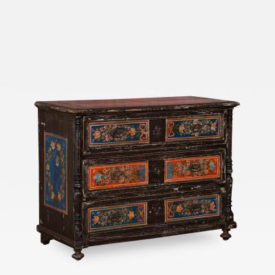 Antique Folk Art Painted Chest of Drawers From Romania