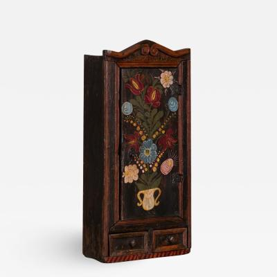 Antique Folk Art Painted Hanging Wall Cabinet