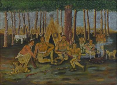 Antique Folk Art Painting of Indians in Forest