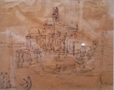 Antique Framed Study for a Painting Ink on Paper Venice Landscape