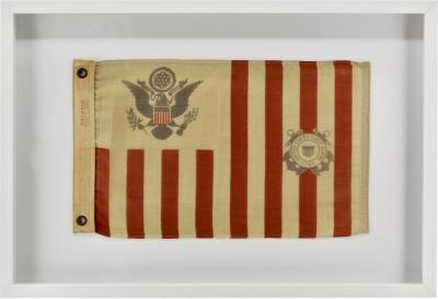 Antique Framed Wool Coast Guard Flag