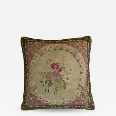 Antique French Beauvais Tapestry Pillow