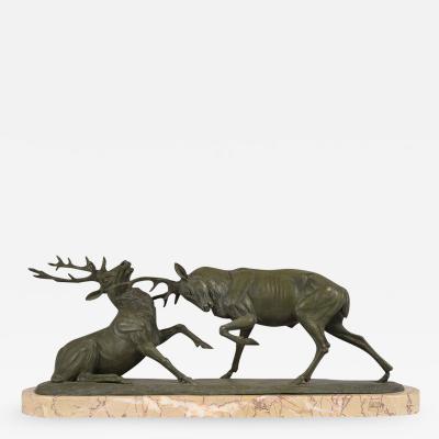 Antique French Bronze Elk Statue