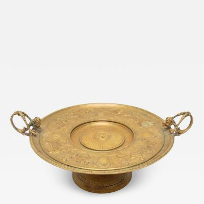 Antique French Bronze Tazza Card Receiver W Cherubs Putti