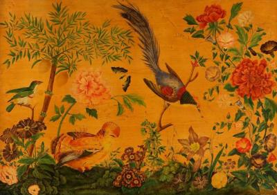 Antique French Decorated Panel of Flora and Fauna