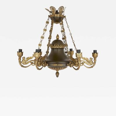 Antique French Empire Style Brown Painted Metal and Gilt Bronze Chandelier