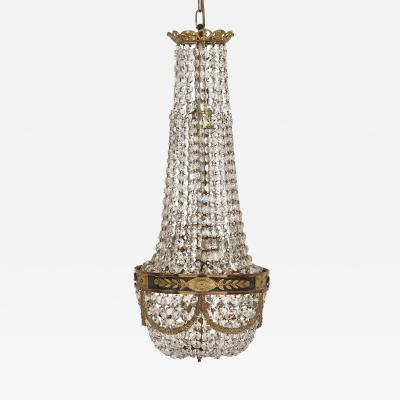 Antique French Empire Style Cut Glass and Gilt Bronze Chandelier