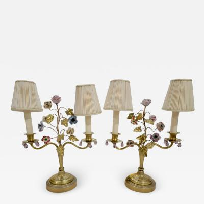 Antique French Gilt Bronze Enamel Floral Table Lamps