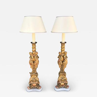 Antique French Giltwood Figural Cathedral Candlestick Floor Lamps a Pair