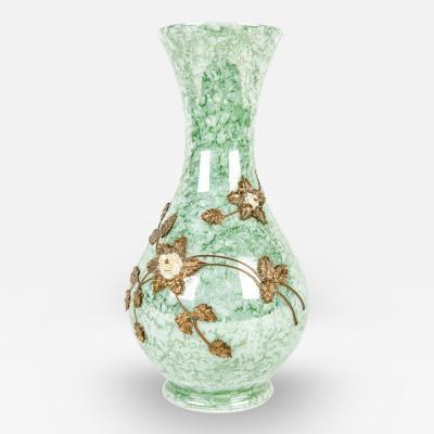Antique French Glazed with Inlaid Brass Flower Design Vase