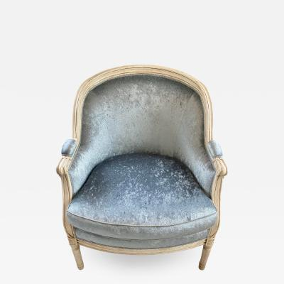 Antique French Louis XV Style Bergere Chair W Scalamandre Blue Silk Velvet